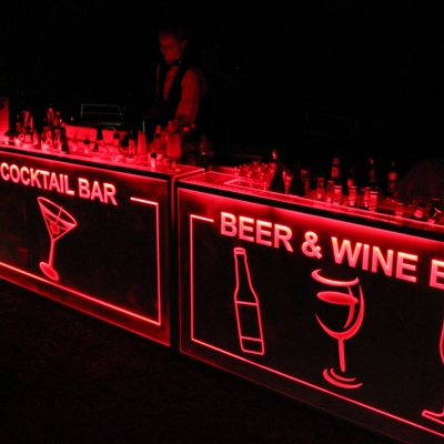 illuminated cocktail bar